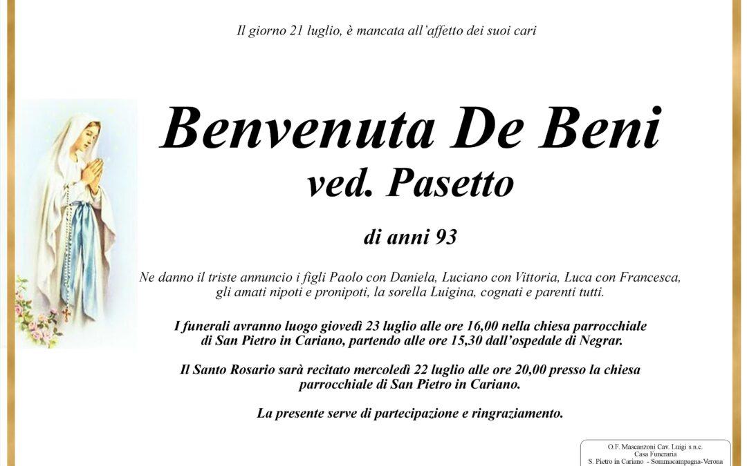 Benvenuta De Beni ved. Pasetto
