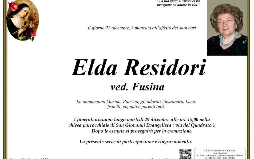 RESIDORI ELDA VED. FUSINA